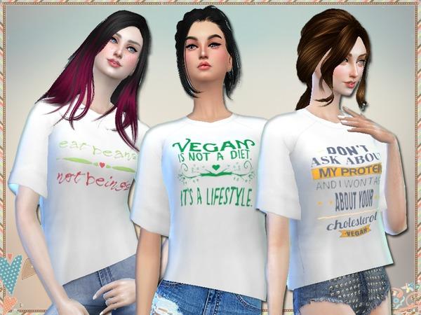 Sims 4 Vegan Tees by Simlark at TSR