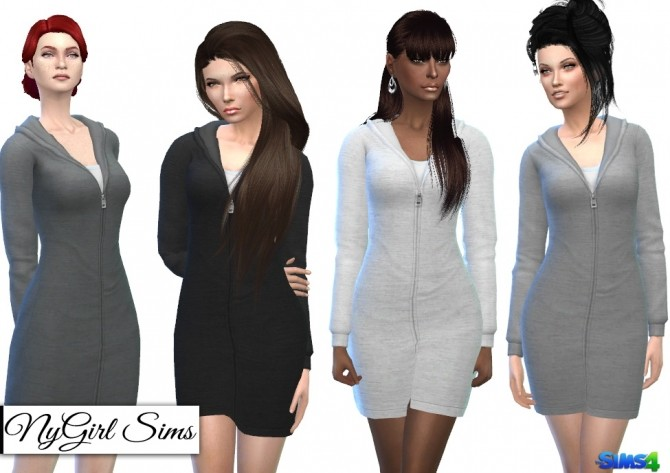 Sims 4 Hooded Sweatshirt Dress at Around the Sims 4