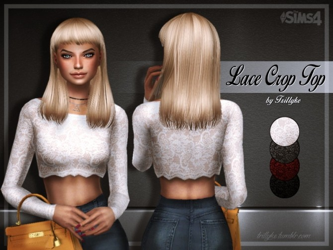 Sims 4 Lace crop top at Trillyke