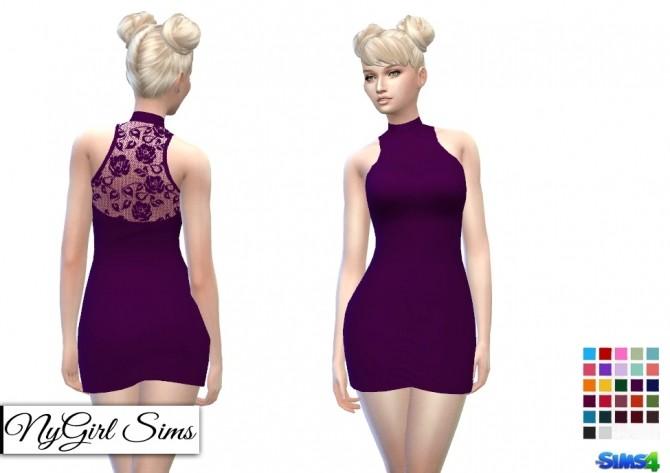Sims 4 Mock Neck Lace Back Mini at NyGirl Sims