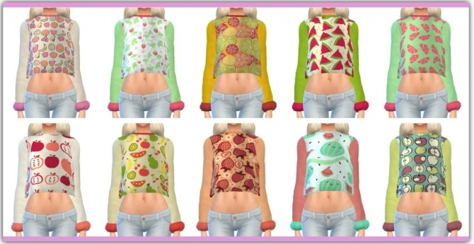 Sims 4 Fruity Sweatshirts at Maimouth Sims4