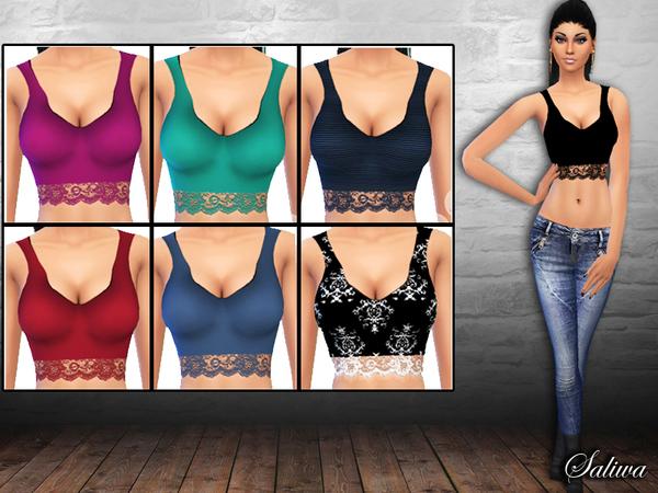 Sims 4 Ladies Lace Basic Tops by Saliwa at TSR