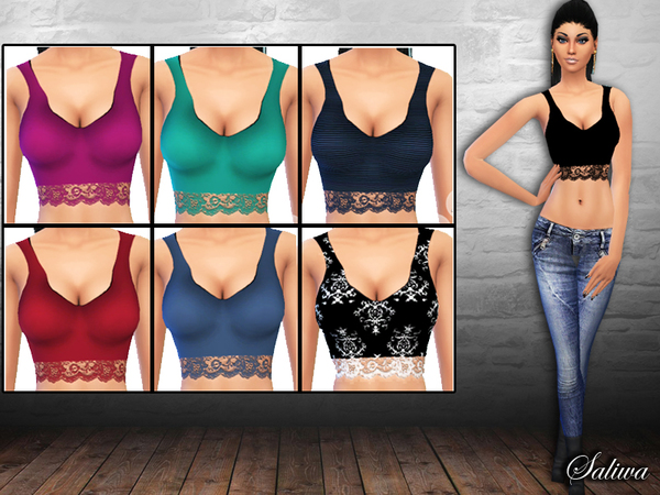 Ladies Lace Basic Tops by Saliwa at TSR image 1827 Sims 4 Updates