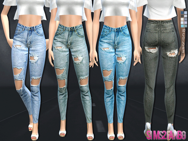 Sims 4 High ripped jeans by sims2fanbg at TSR