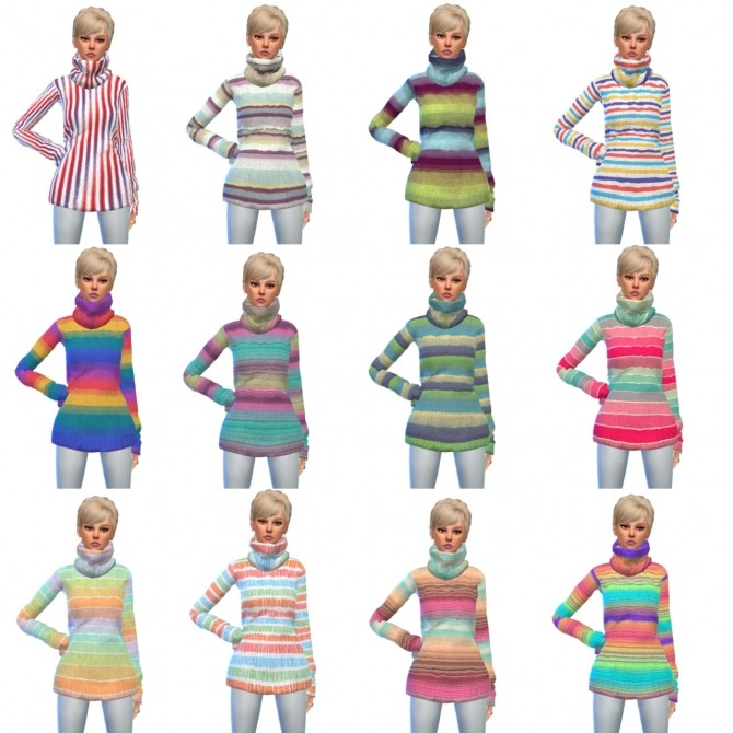 Sims 4 Tight Turtleneck Long Sweater Recolors at Maimouth Sims4