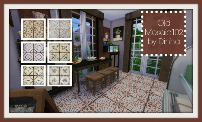 Old Mosaic Floor 102 at Dinha Gamer image 192 670x404 Sims 4 Updates