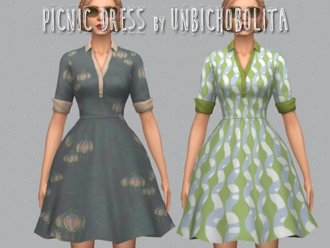 Sims 4 50′s Picnic dress at Unbichobolita
