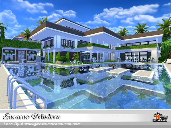 Sacacao modern house by autaki at tsr sims 4 updates for Pool design sims 4