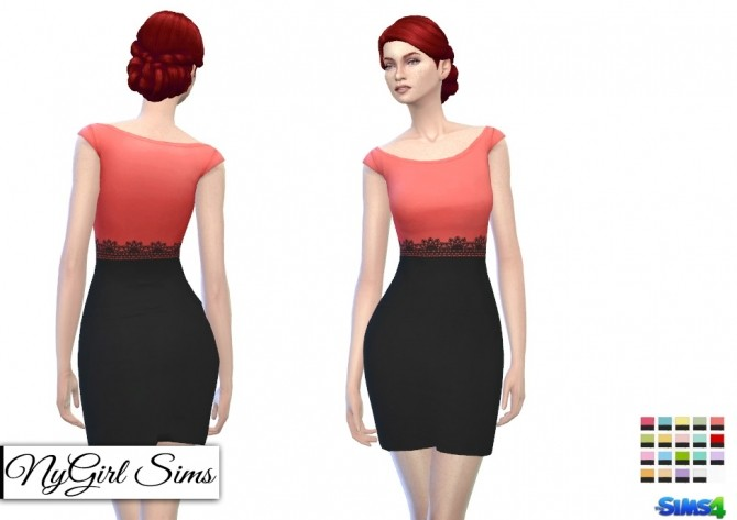 Sims 4 Cap Sleeve Pencil Dress with Black Skirt at NyGirl Sims