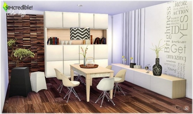 Color riffs dining room at simcredible designs 4 sims 4 for Dining room ideas sims 4