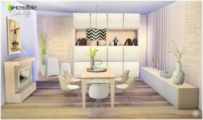 Color riffs dining room at simcredible designs 4 sims 4 for Sims 4 dining room ideas
