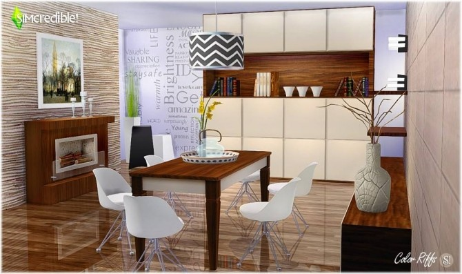 Color Riffs Dining Room At Simcredible Designs 4 187 Sims 4