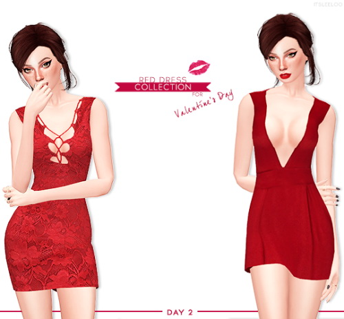 Sims 4 RED DRESS COLLECTION 2 at Leeloo
