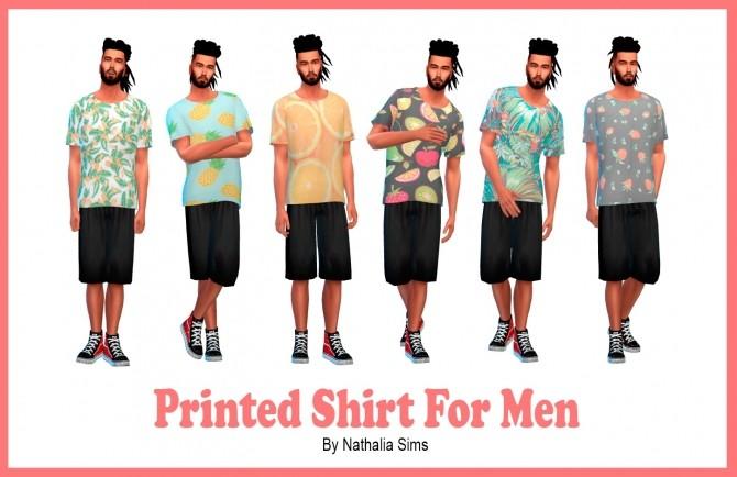 Sims 4 Printed Shirt For Men at Nathalia Sims
