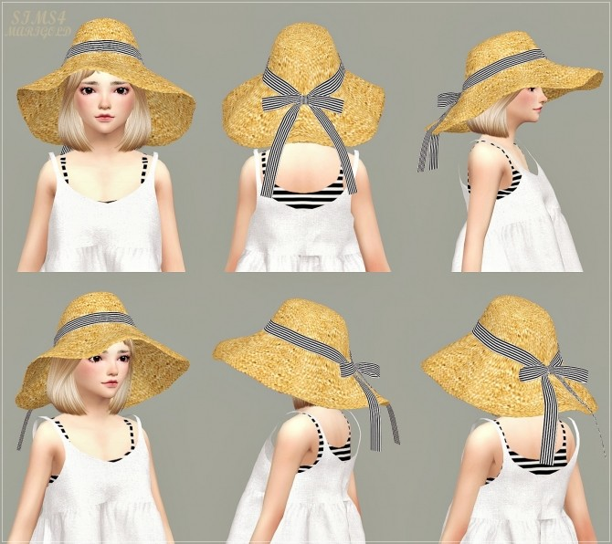 Child Back Ribbon Wide Floppy Hat At Marigold » Sims 4 Updates