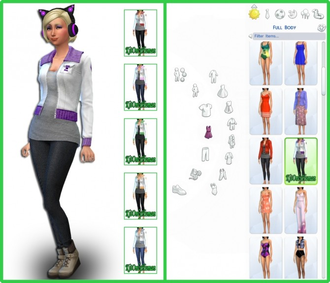 Sims 4 6 Jacket Outfit Textured Recolors by KitOnlyHuman at SimsWorkshop