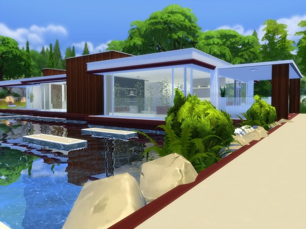 Modern pool house by suzz86 at tsr sims 4 updates - Modern house with pool ...