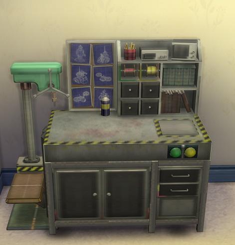 Sims 4 2 to 4 Robot Workbench by BigUglyHag at SimsWorkshop