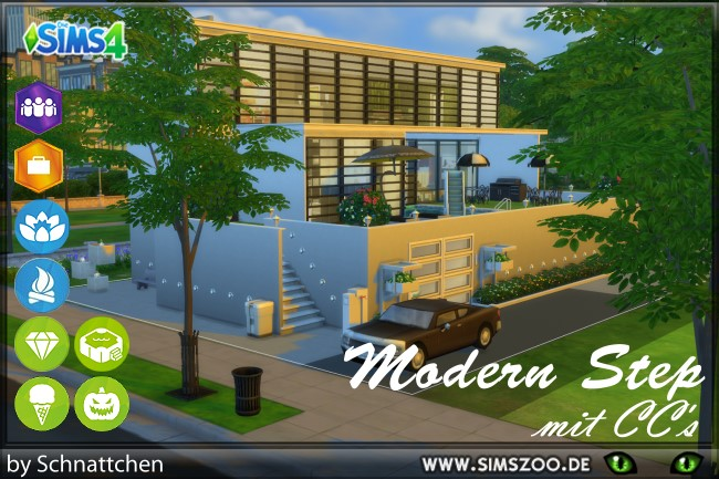 Modern Step house by Schnattchen at Blacky's Sims Zoo image 2254 Sims 4 Updates