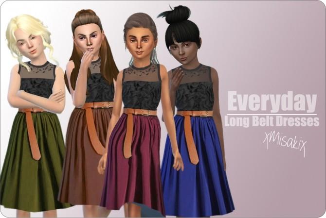 Sims 4 Long Belt Dresses for Girls at xMisakix Sims