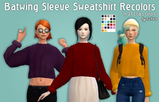 Sims 4 Batwing Sleeve Sweatshirt Recolors at Tukete