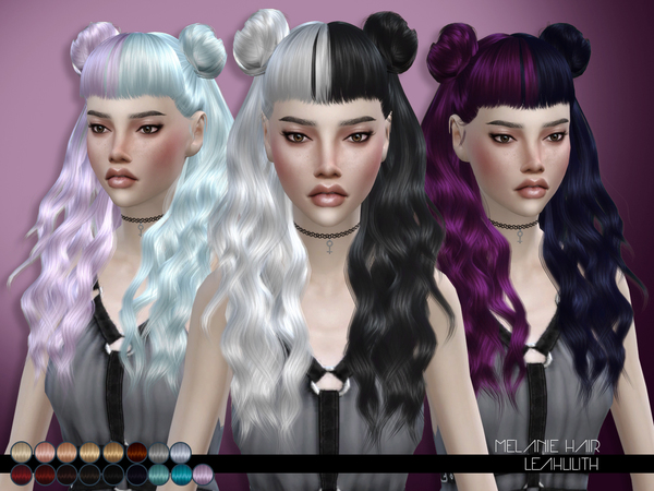 Sims 4 Melanie Hair by Leah Lillith at TSR