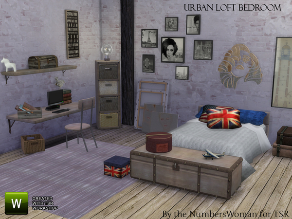 Sims 4 Urban Loft Bedroom by TheNumbersWoman at TSR