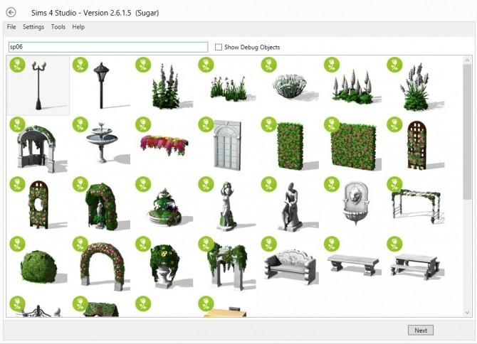 Sims 4 Studio v. 2.6.1.5 (Sugar) updates for Romantic Gardens at Sims 4 Studio
