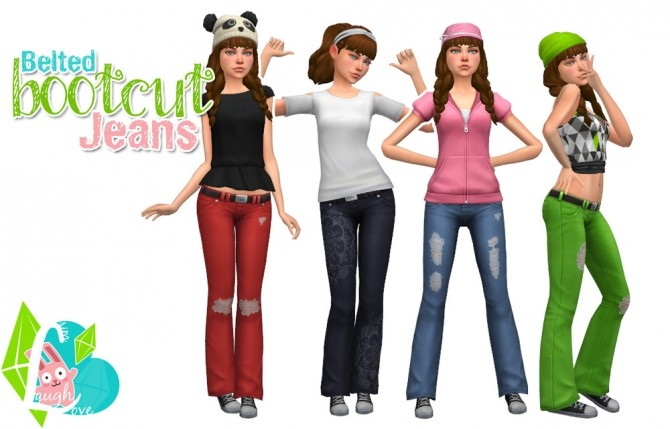 Sims 4 Belted Bootcut Jeans at SimLaughLove