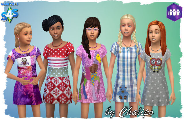 Sims 4 Friends dress for kids by Chalipo at All 4 Sims