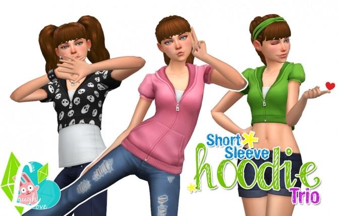 Sims 4 Short Sleeve Hoodie Trio at SimLaughLove