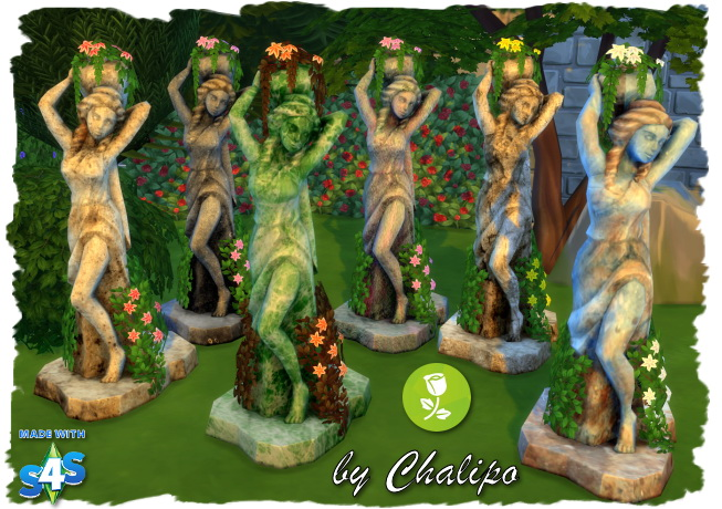 Stone Statues, Bench And Table By Chalipo At All 4 Sims