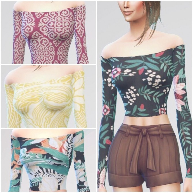Sims 4 Yeolsims Cropped Top recolours at GreeneyedSim