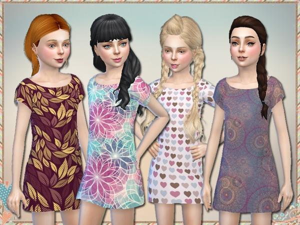 Sims 4 Pattern Dresses For Girls by Simlark at TSR