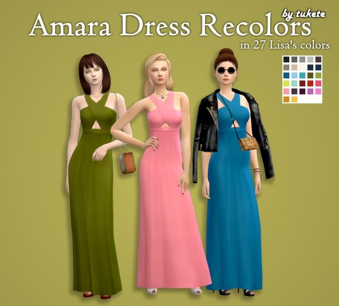 Sims 4 Amara Dress Recolors at Tukete