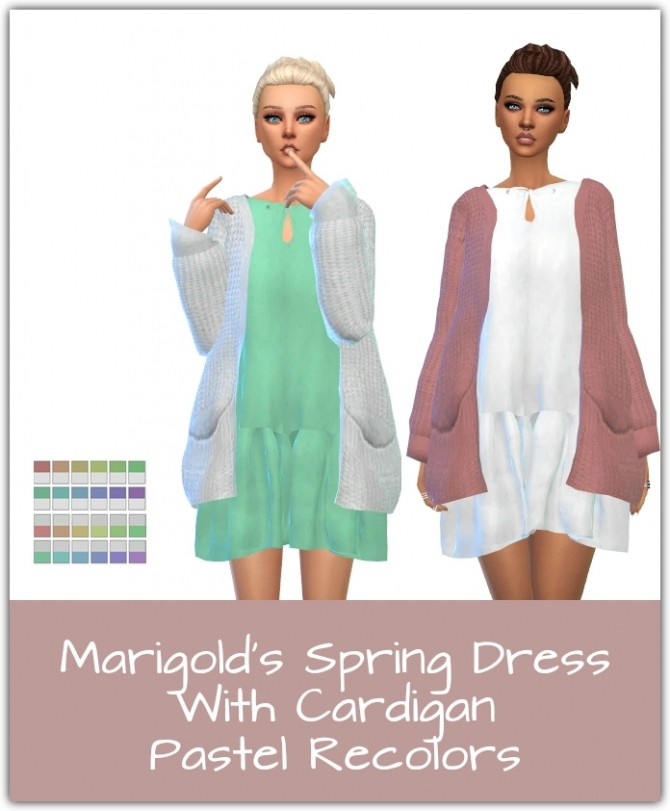 Sims 4 Spring Dress With Cardigan Recolors at Maimouth Sims4