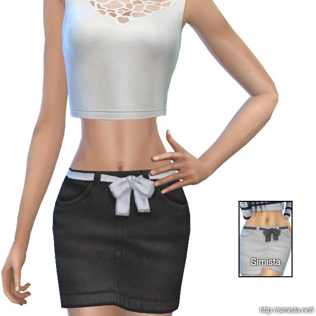 Sims 4 Denim Bow Skirts at Simista