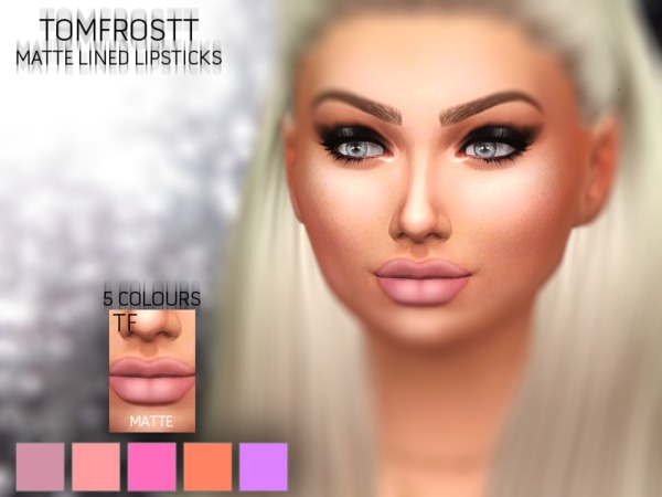 Sims 4 Matte Lined Lipsticks by tomfrostt at TSR