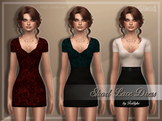 Sims 4 Short Lace Dress at Trillyke