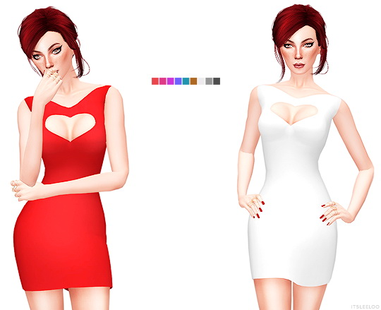 Sims 4 RED DRESS COLLECTION 7 at Leeloo