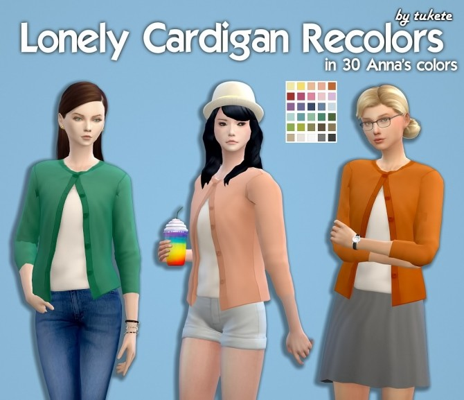 Sims 4 Lonely Cardigan Recolors at Tukete