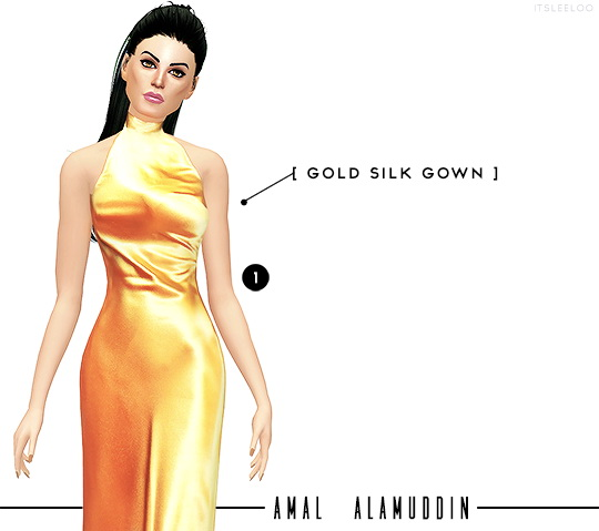 GOLD MINI DRESS and SILK GOWN + WHITE JUMPSUIT at Leeloo image 2932 Sims 4 Updates