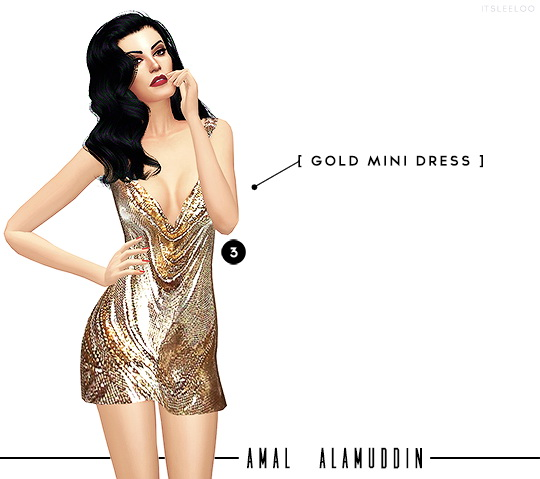 GOLD MINI DRESS and SILK GOWN + WHITE JUMPSUIT at Leeloo image 2951 Sims 4 Updates