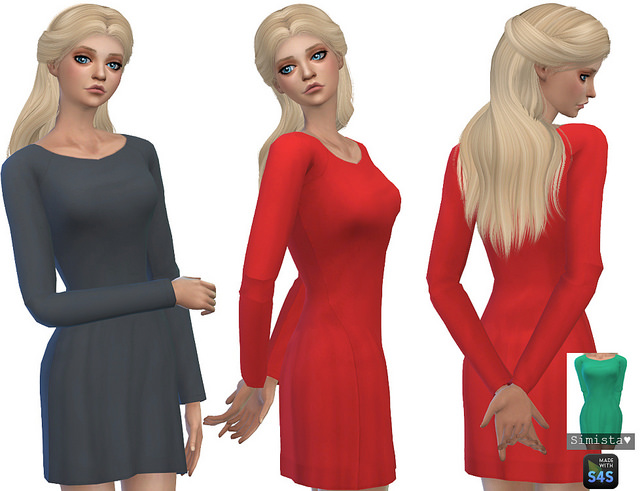 Sims 4 Long Sleeve Little Dresses at Simista