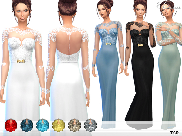 Sims 4 Lace Bodice Gown by ekinege at TSR
