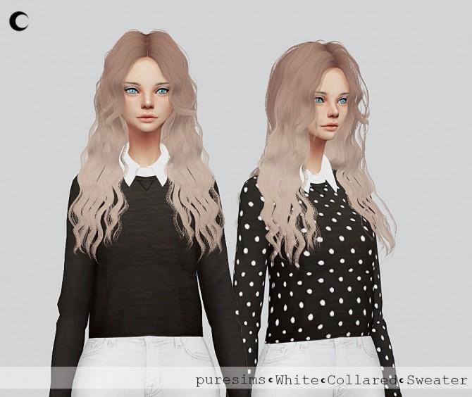 White + Black Collared Sweater at Kalewa a image 3353 670x564 Sims 4 Updates