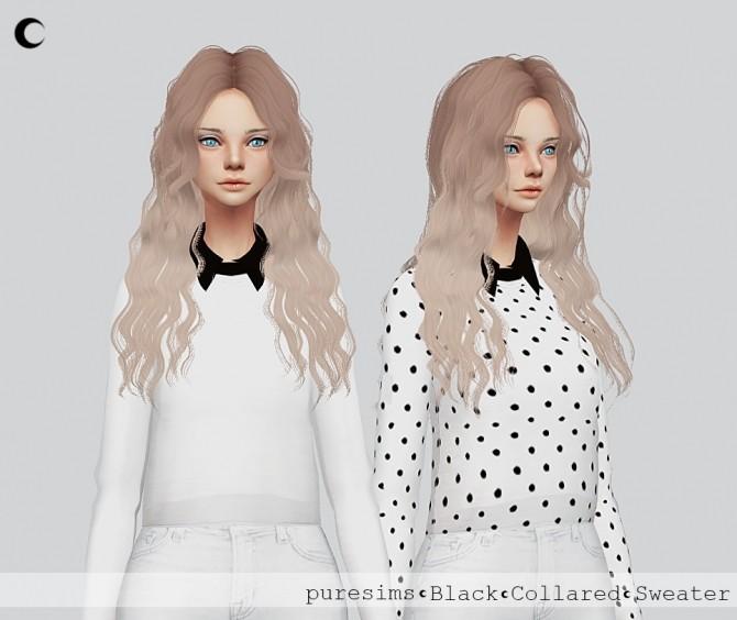 White + Black Collared Sweater at Kalewa a image 3363 670x564 Sims 4 Updates
