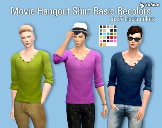 Sims 4 Movie Hangout Shirt Basic Recolors at Tukete