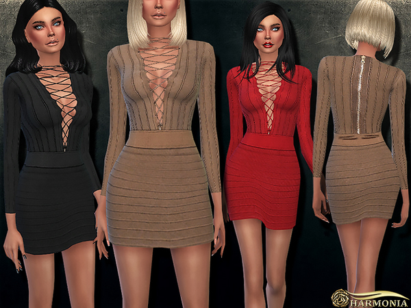 Sims 4 Lace up Stretch Viscose Knit Dress by Harmonia at TSR