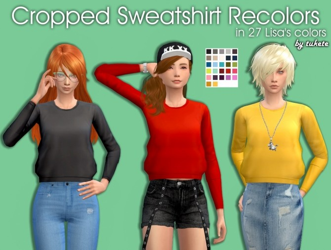 Sims 4 Cropped Sweatshirt Recolors at Tukete